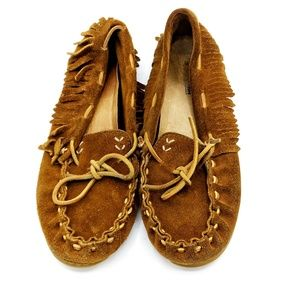 Minnetonka Mocassins Fringe Brown Sz 8